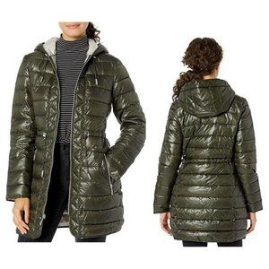 Kenneth Cole Olive Quilted Packable Hooded Jacket
